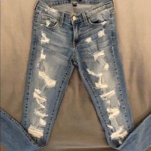 Flying Monkey Light Wash Distressed Skinny Jeans